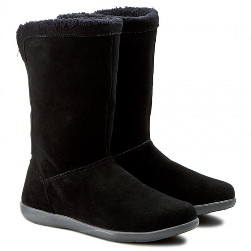 Ladies Black/Charcoal Adela Foldover Fuzz Bootie (Only Size UK6 Available)