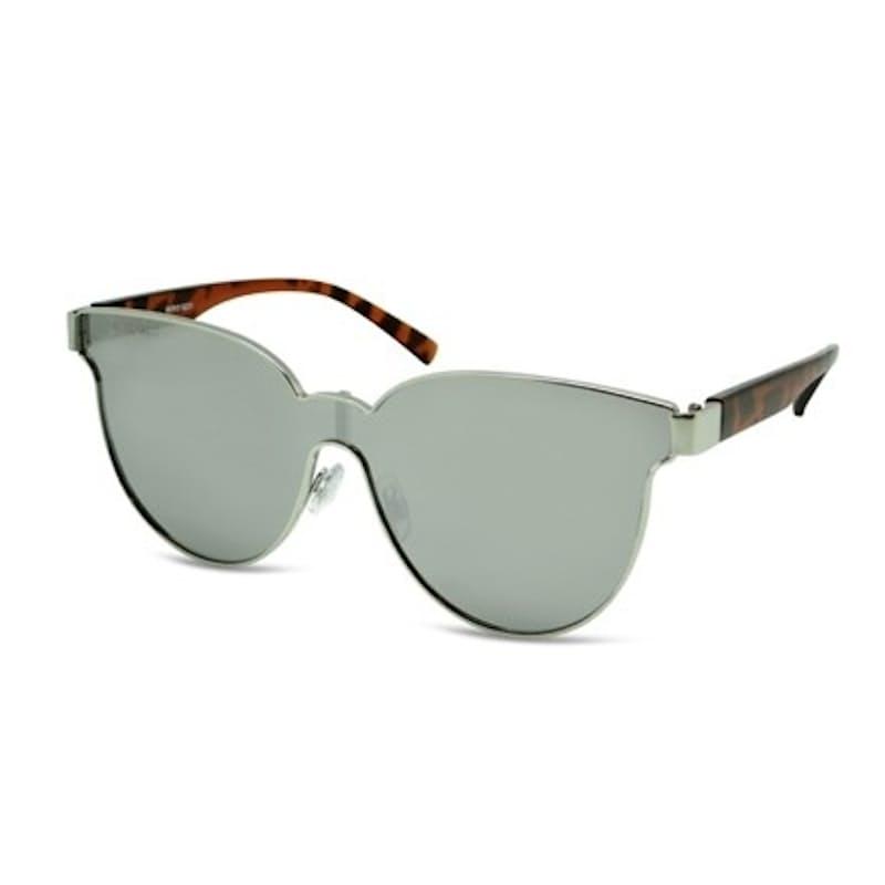 Ladies Reflective Cat-Eye Metal Frame Sunglasses