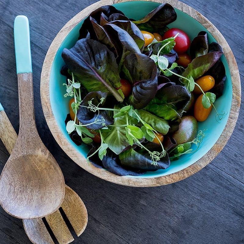Mango Wooden Salad Server Set with Serving Bowl