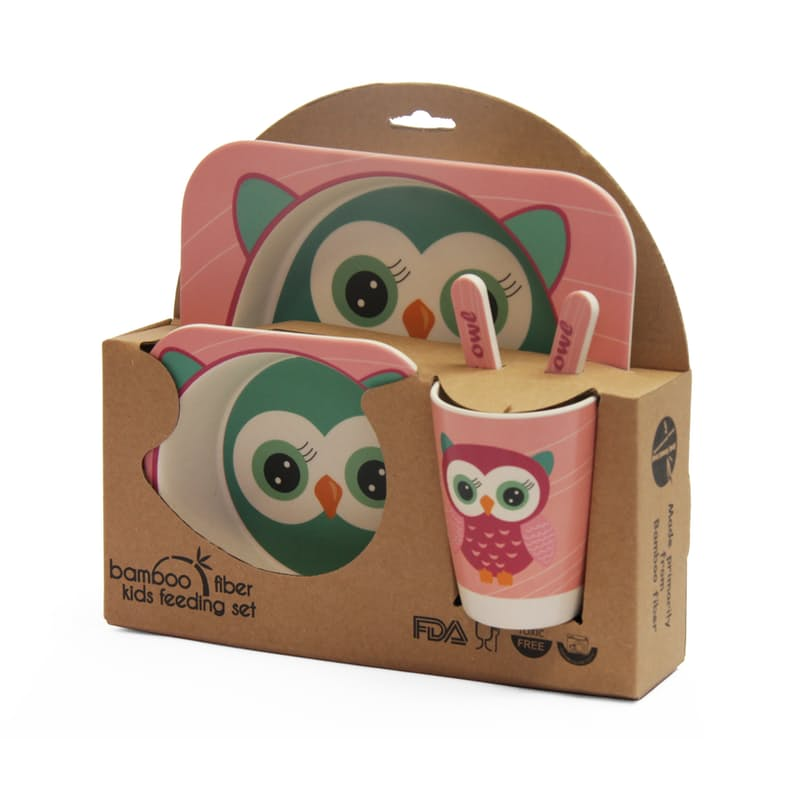 Big Owl Kids Bamboo Dining Set