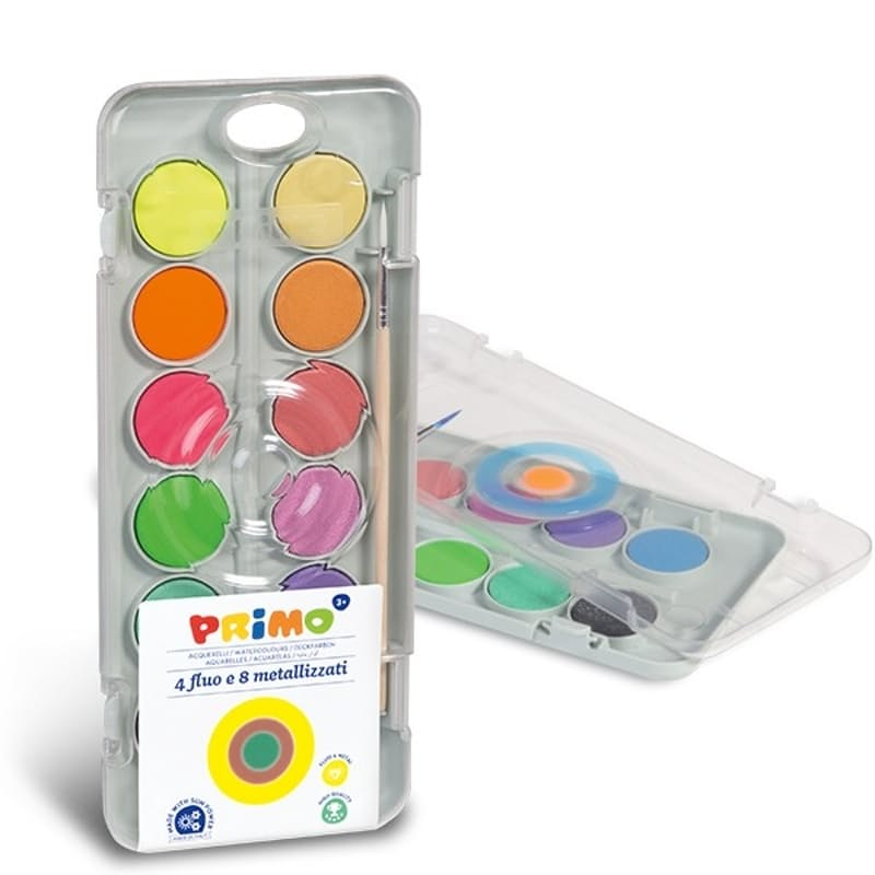 12 Watercolour Mixing Tablet of Fluorescent & Metallic Paints with Brush (8 Metallic + 4 Fluorescent)