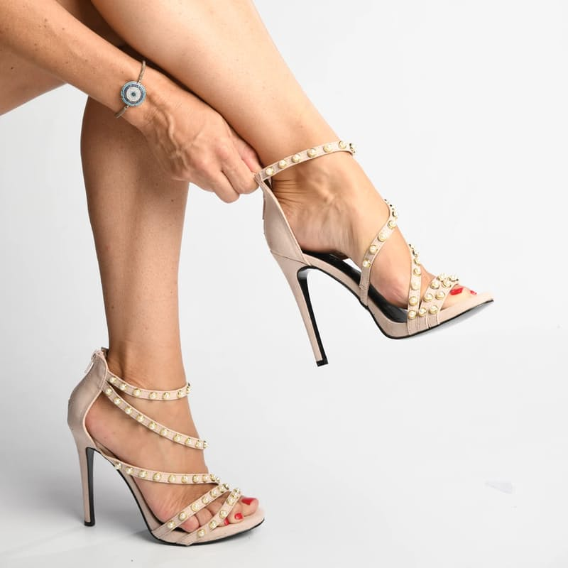 Ladies Criss-Cross High Heel with Stud Detail