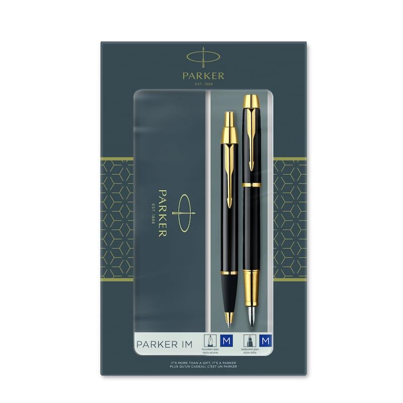 IM Duo Black Gold Trim Fountain Pen & Ballpoint Pen Gift Set