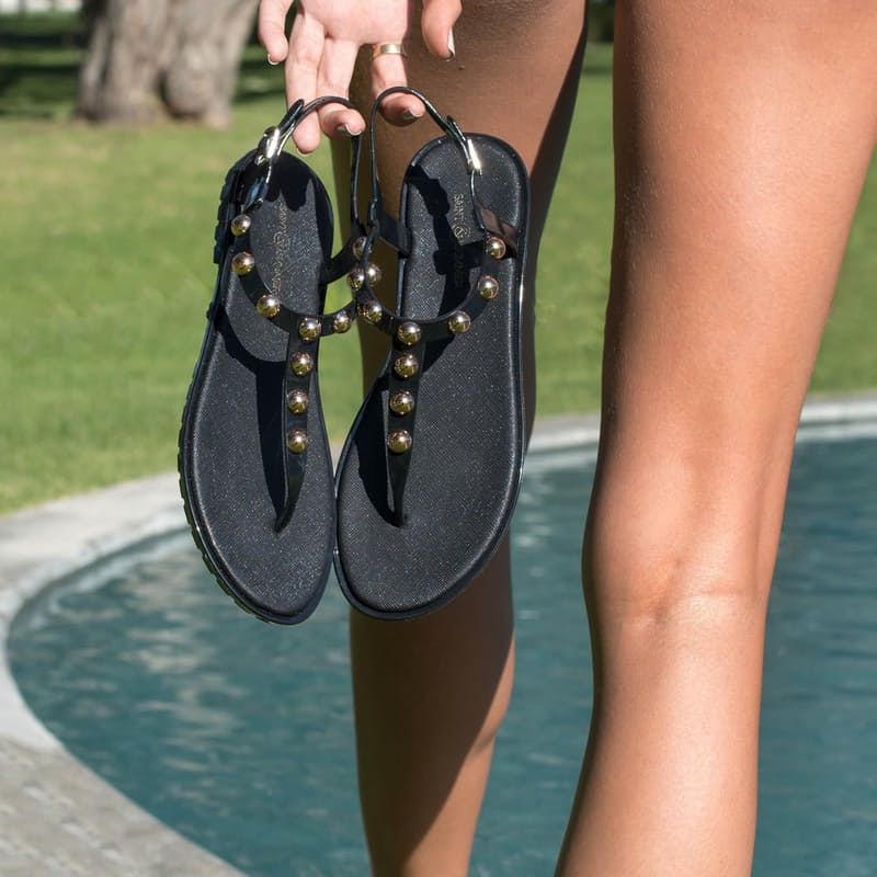 Ladies Luxe Studded Jelly Sandal