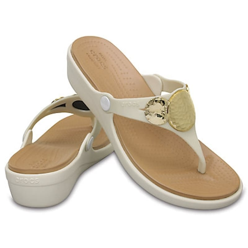 Ladies Sanrah Embellished Wedge Flip Flop