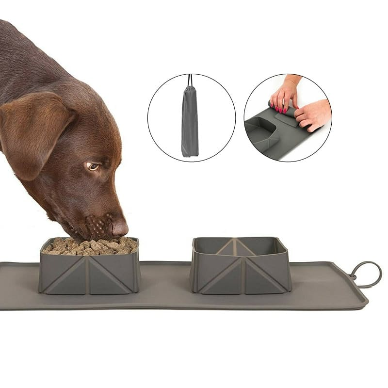 2-in-1 Portable Roll-up Silicone Pet Bowl