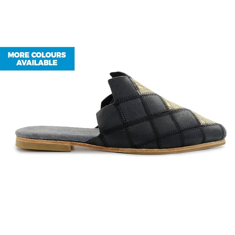 African Handmade Sifa Diamond Mule Shoes