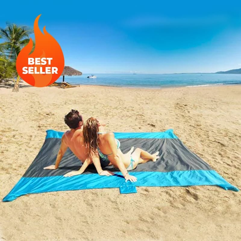 Giant Sand-Free Beach Mat with Anchors and Carry Pouch