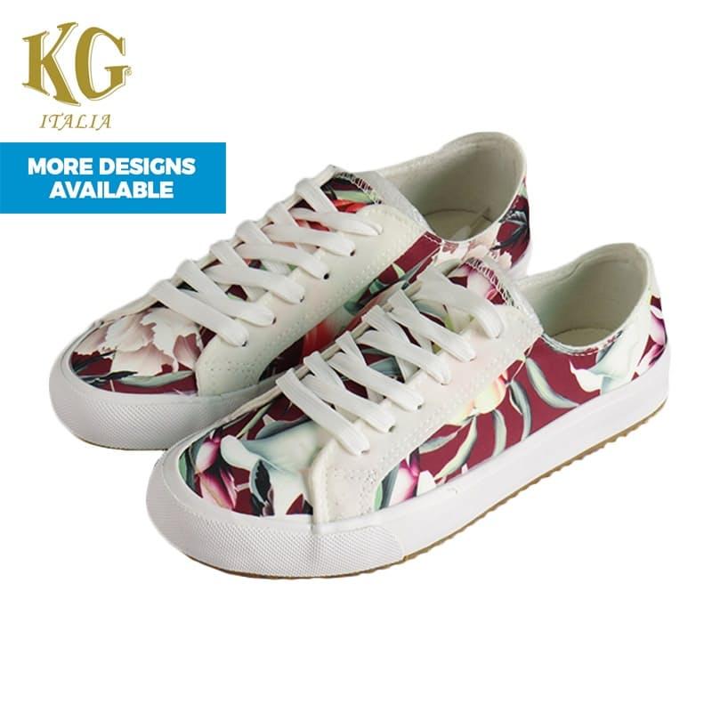 Ladies Printed Floral Satin Sneakers