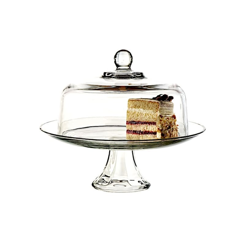 2 Piece Presence Glass Cake Stand with Glass Dome