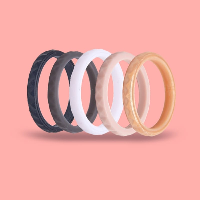 Pack of 5 Women's Comfort Silicone Rings
