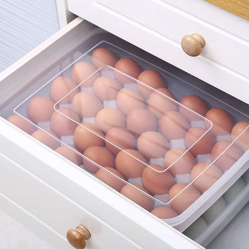 Pack of 2 Plastic Egg Storage Containers (Holds 68 eggs in total)