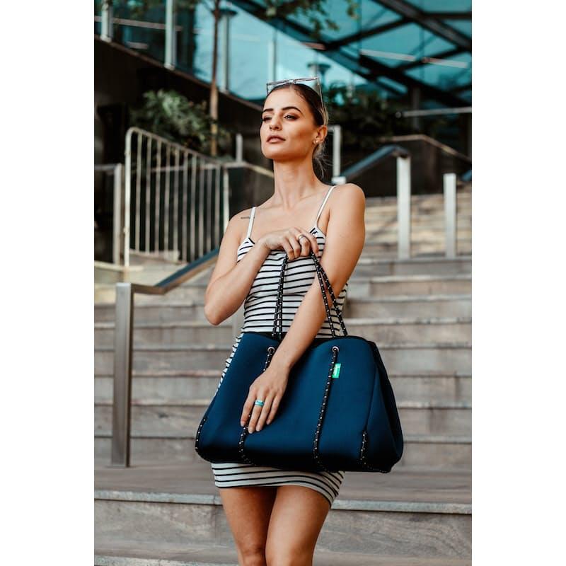Navy Neoprene Tote Bag with Small Makeup Bag