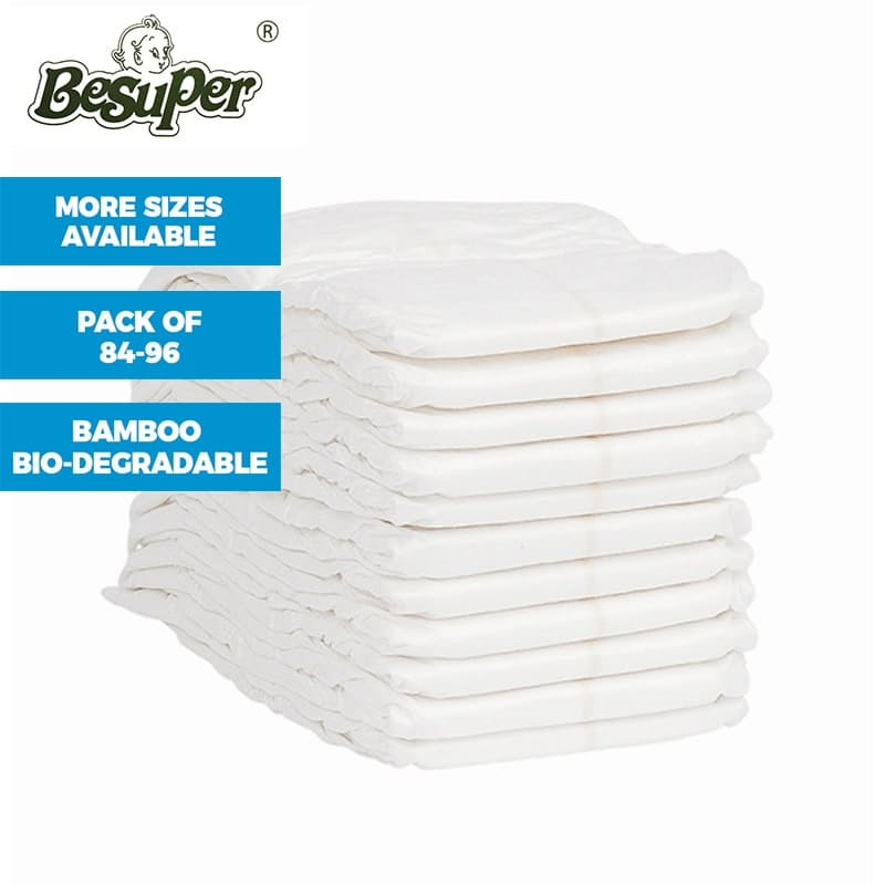 Natural Biodegradable Bamboo Diapers Ideal for Babies Between 6 to 12+ Kilograms (Packs of 84-96 Nappies Available)