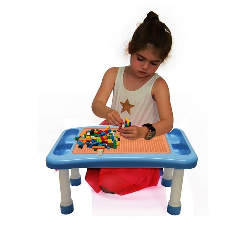 Kids Play Table with Multi-Coloured Building Blocks