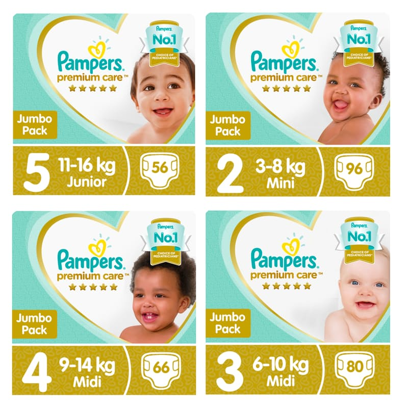 Premium Care Nappies From R3.11 per Nappy (Multiple Sizes Available)