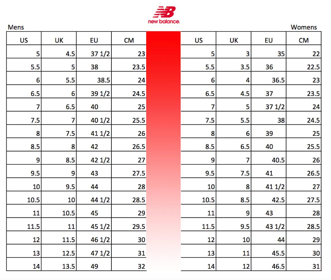 new balance shou size chart