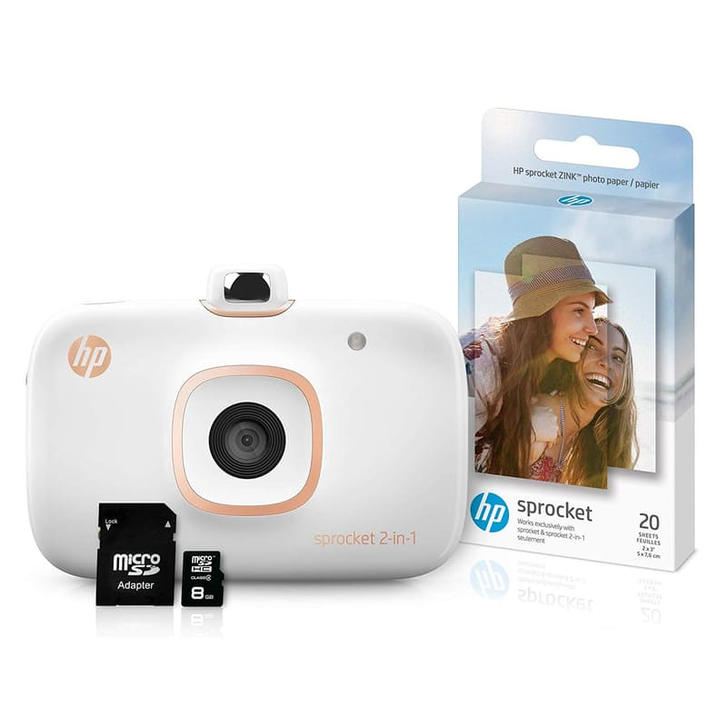 Sprocket 2-in-1 Portable Photo Printer & Instant Camera with 8GB MicroSD Card and 30 Sheets of ZINK Photo Paper