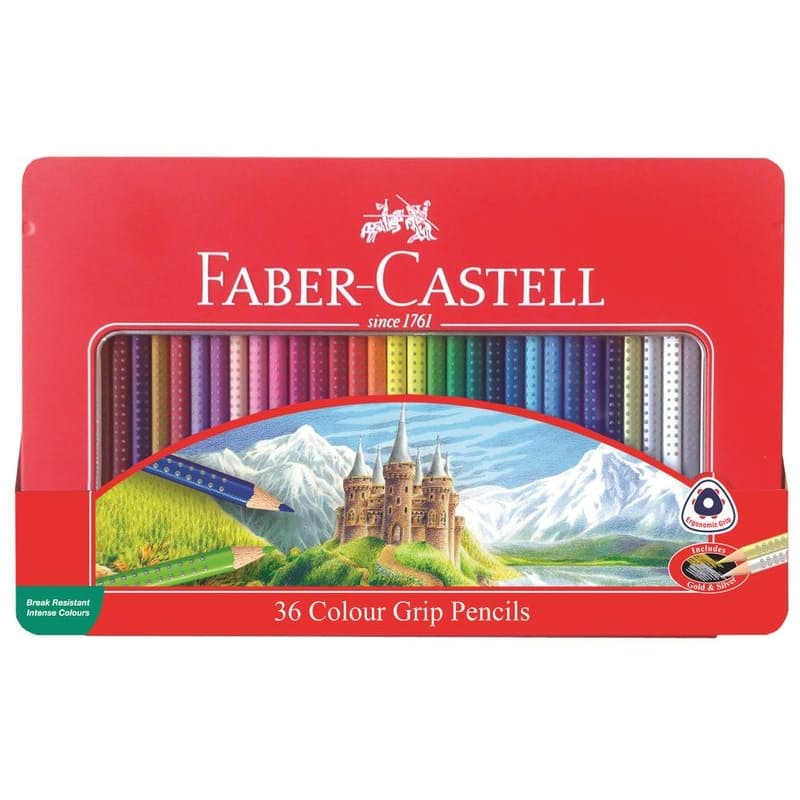 Tin of 36 Colour Grip Pencils