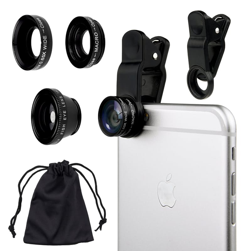 3-in-1 Camera Lens with Clip for Smartphone & Tablets (Wide, Macro & Fish Eye Lenses included)