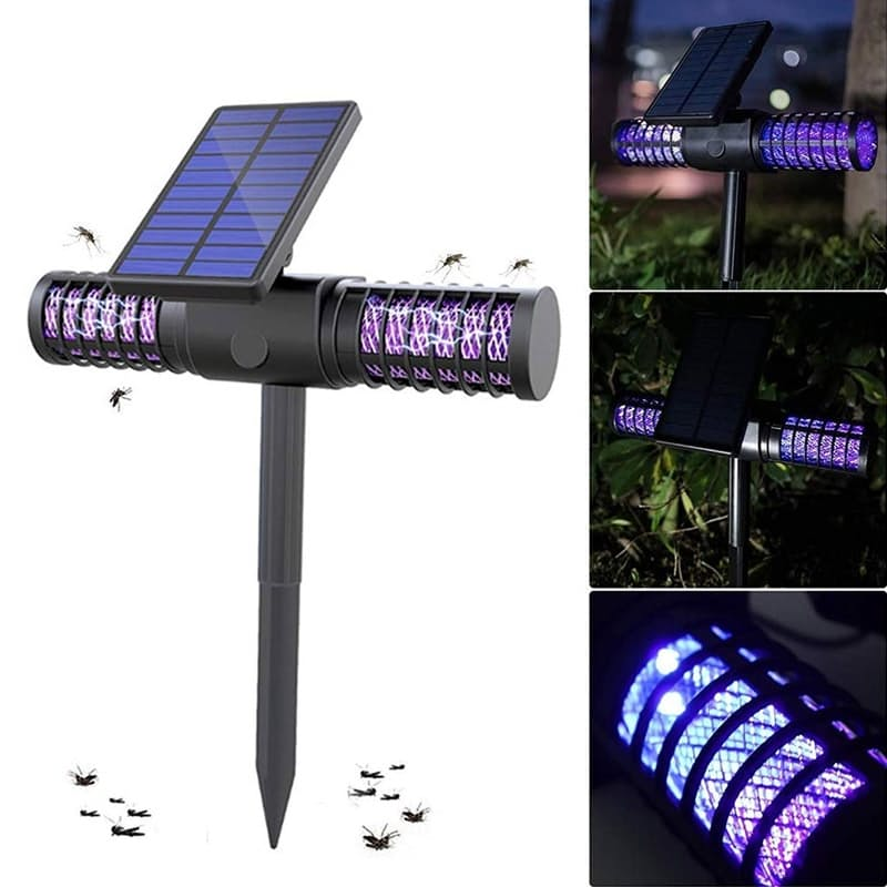 Dual Solar Mosquito Zapping UV LED Insect Trap Light