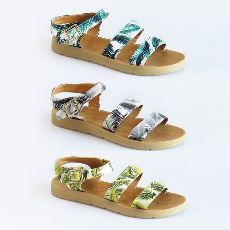 Ladies Printed Fern Strap Sandals