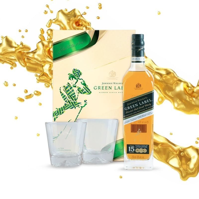 750ml Green Label 15 Year Old Scotch Whisky with 2 Glasses in a Gift Pack