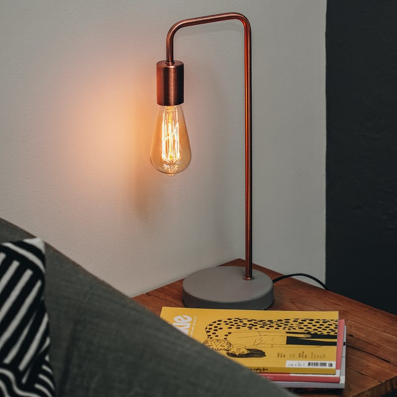 Table Lamp with Filament Bulb and Concrete Base (Silver or Copper)