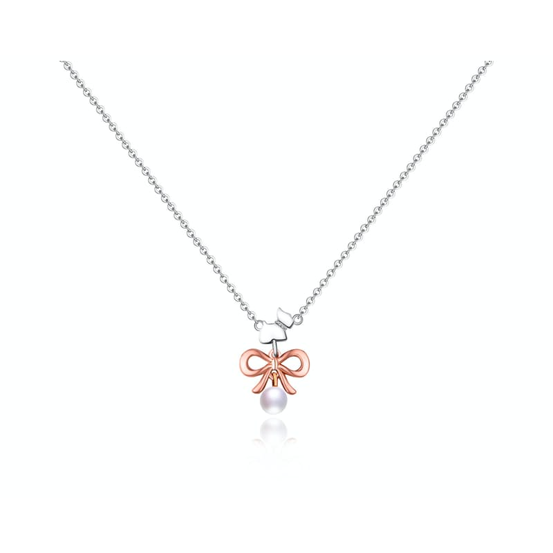 Ladies Scottie & Bow Pearl Necklace