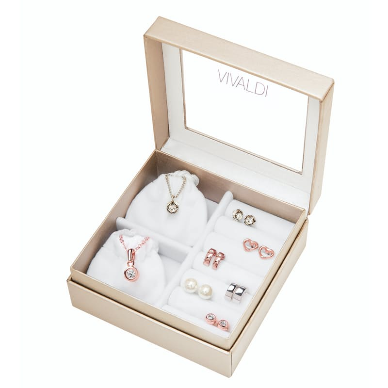 Ladies Rose Gold/Rhodium Plated Earring & Necklace Set