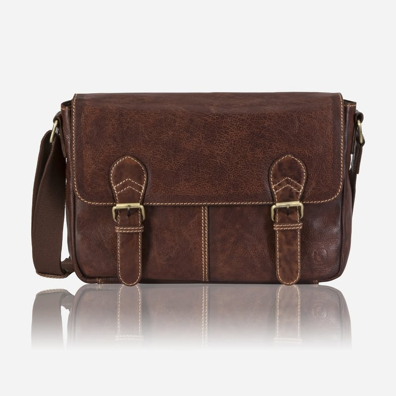 Genuine Leather Laptop Messenger Bag with 2 Buckles