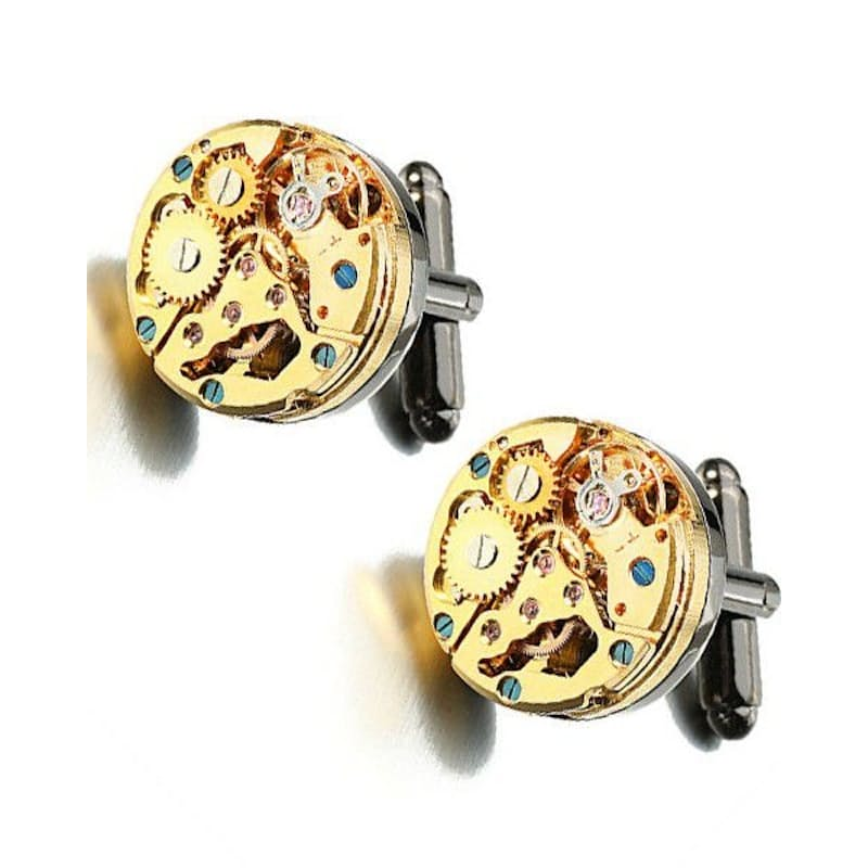 Black & Gold Steampunk Watch Movement Cufflinks