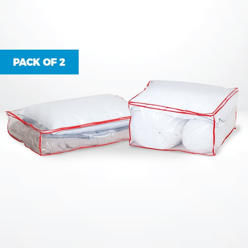 Pack of 2 Clear Under Bed Storage Organisers (Multiple Sizes Available)
