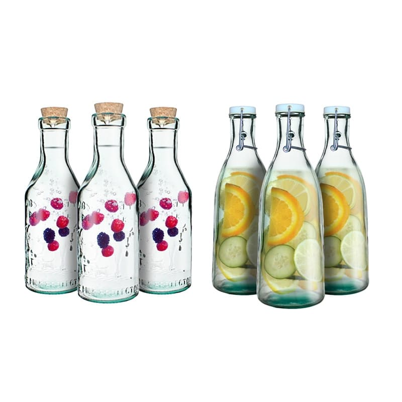 Set of 3 Recycled Glass Water Bottles