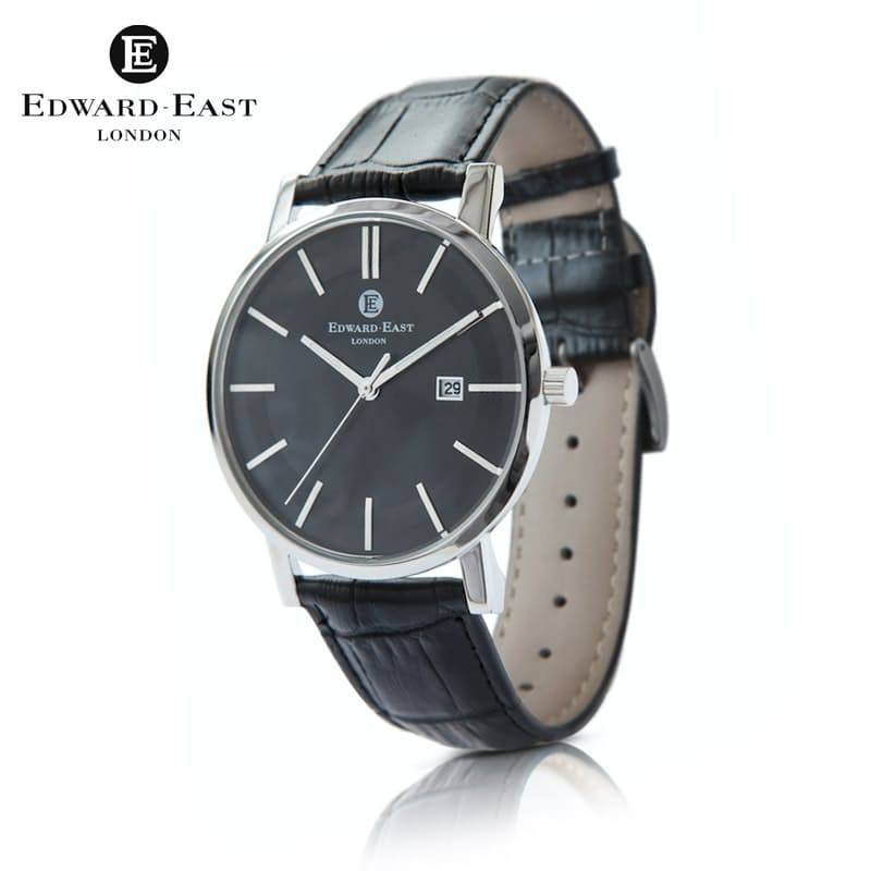 Gents Classic Genuine Leather & Stainless Steel Quartz Watch