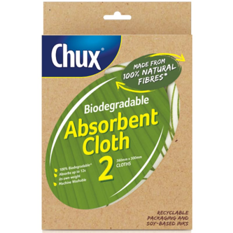 Pack of 10 - Biodegradable Absorbent Cloth (Absorbs up to 12 Times the Weight) - 20 Cloths in total