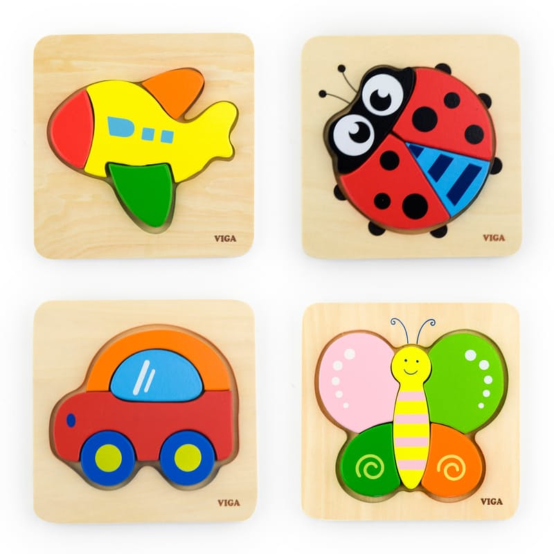 Children's Colourful Wooden Shaped Puzzle Blocks