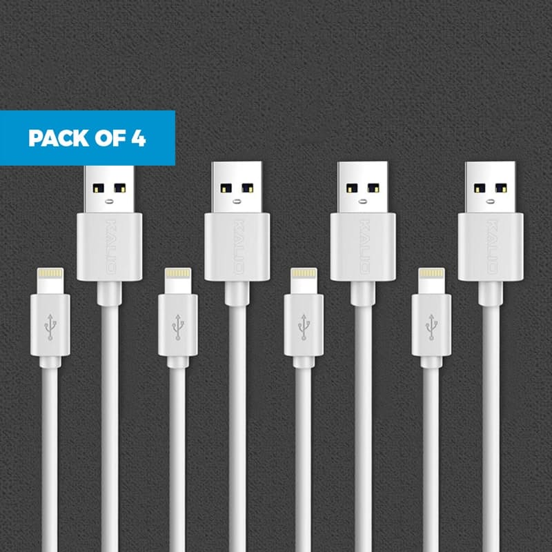 Pack of 4 2.1A Fast Charging 1m Data and Charging Cables (Lightning, Micro USB & Type C)