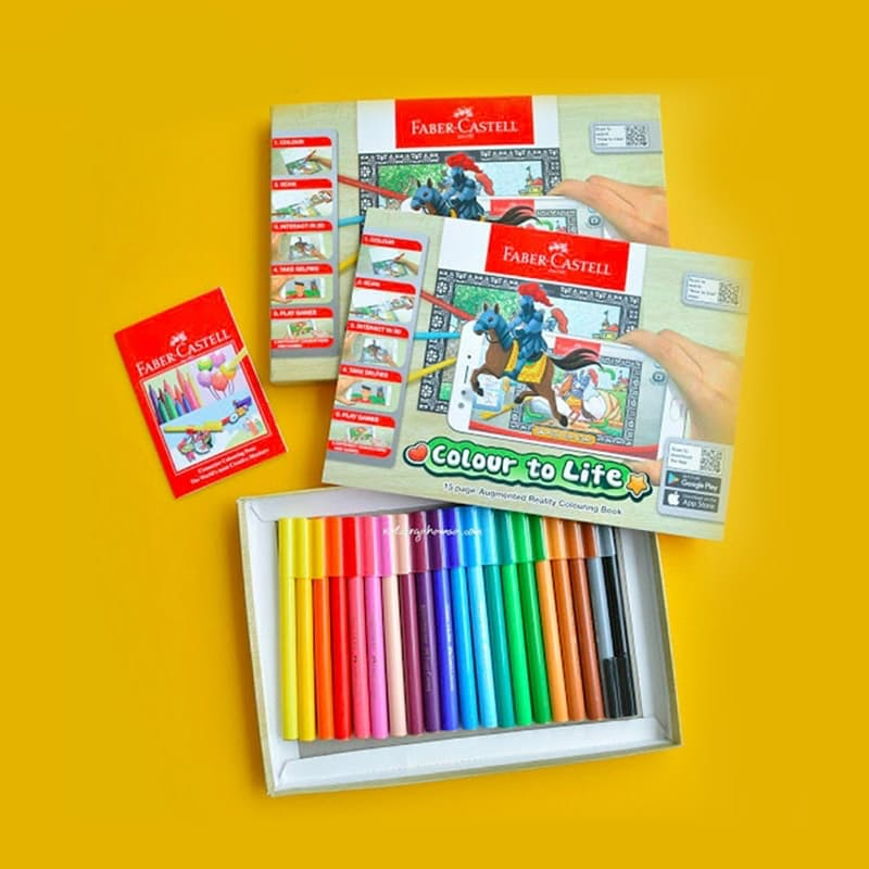 """Colour to Life"" Colouring In Book with 20 Interlocking Pens"