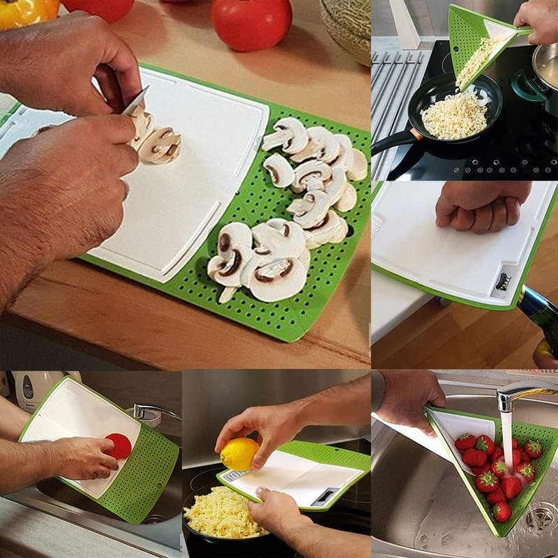 Multiple Use Chopping Board (Grater, Bottle opener, Drain Basket)