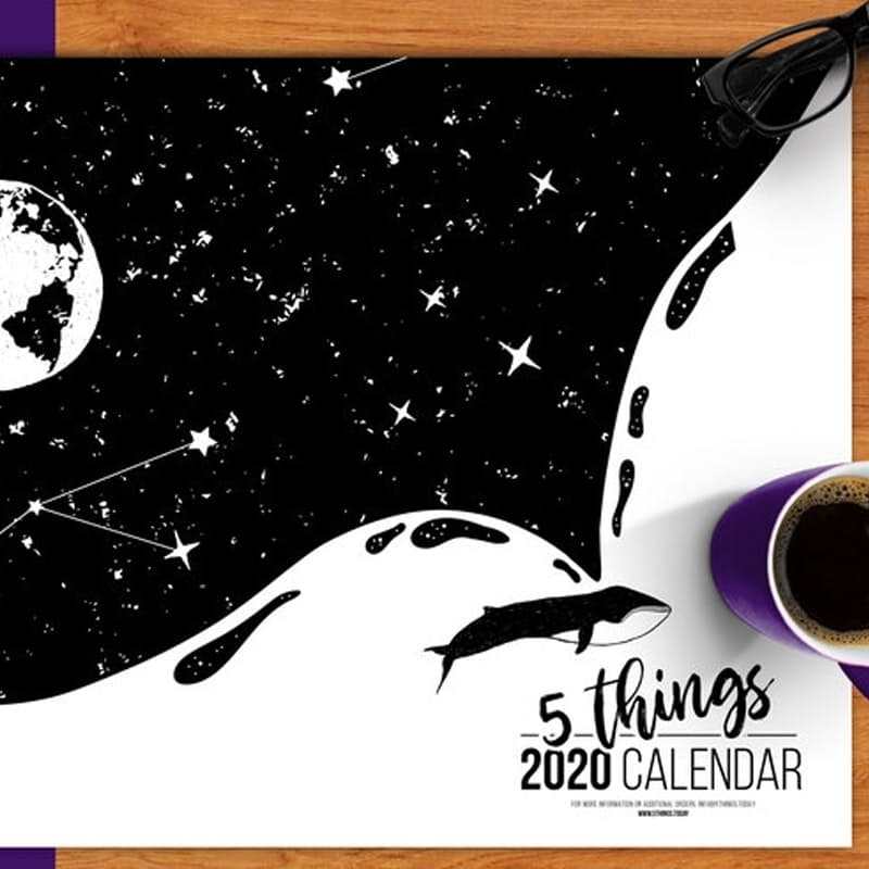 Pack of 2 - 2020 A2 Black & White Calendars