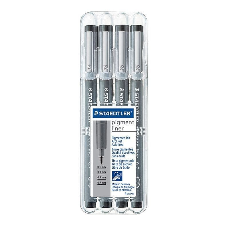 Pack of 4 Black Pigment Fineliners (Assorted Sizes)