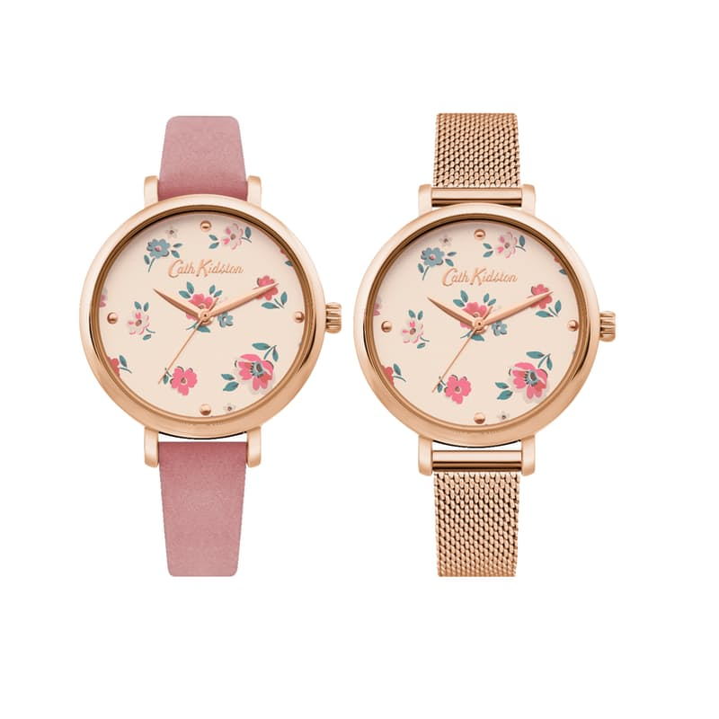 Ladies Round Watch with Floral Face