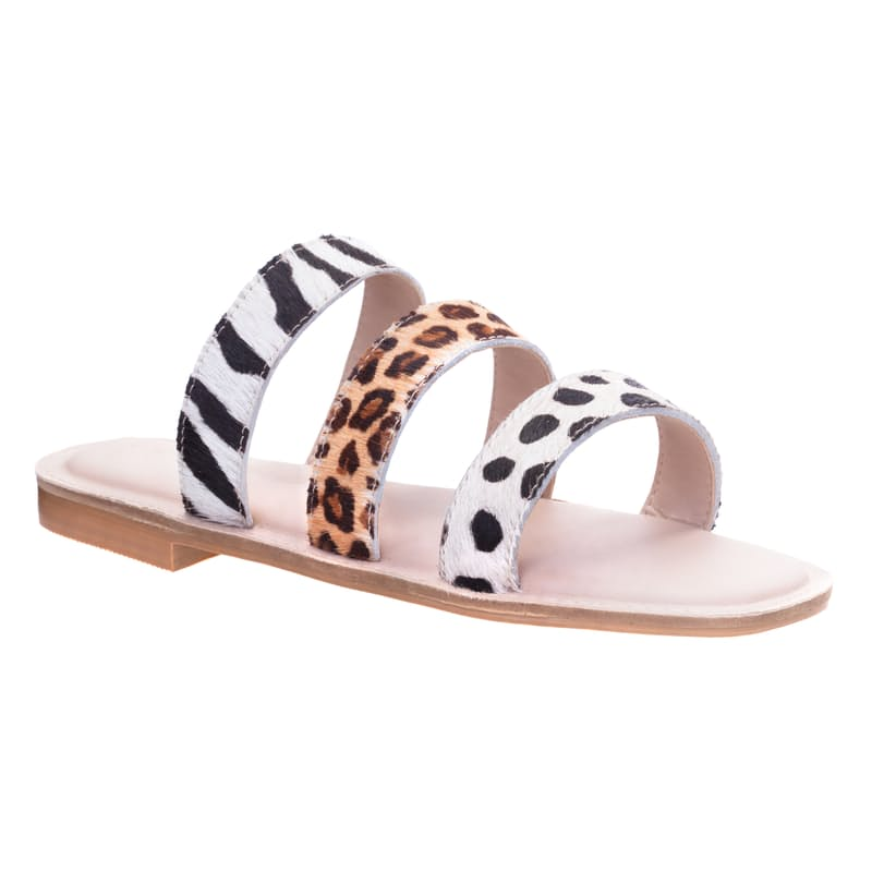 Genuine Leather Ladies Lush Mixed Print Triple Thonged Sandal