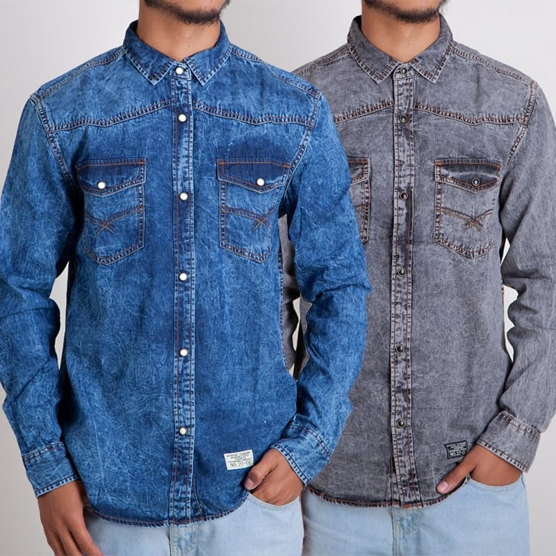 Men's Raw Denim Long Sleeve Shirt (Multiple Colours Available)