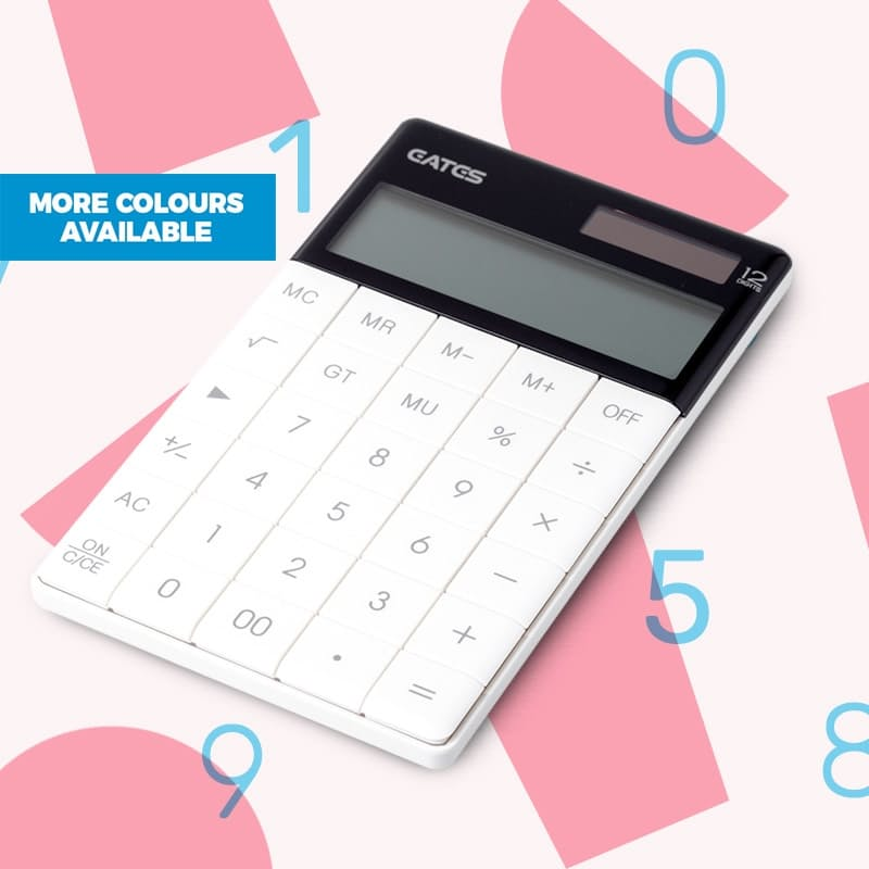 Sleek Desk Calculator with Foldaway Stand (Black or White)