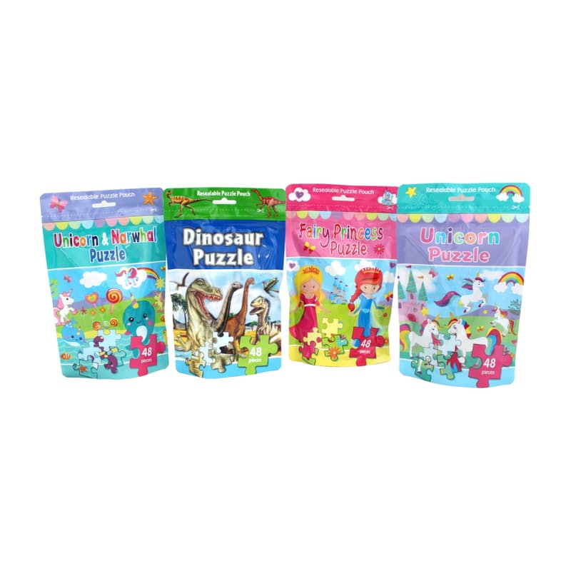 Pack of 4 Children's Puzzle Bundle (Dinosaur, Unicorn & Narwhal, Fairy Princess, and Unicorn)