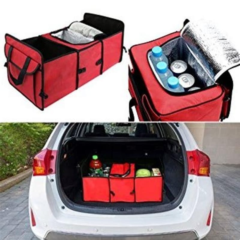 Deluxe Portable Trunk Organizer With Cooler Compartment
