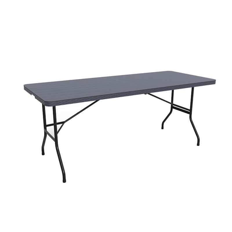 1.8m Black Slatted Folding Trestle Table