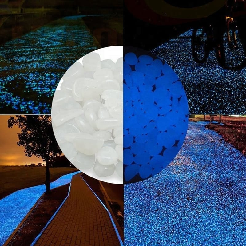 Pack of 500 Solar Powered Glow-in-the-Dark Pebbles (Multiple Colours Available)